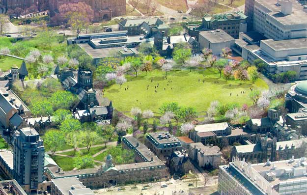 Aerial view and rendering of front campus (Image Credits: KPMB and MVVA)