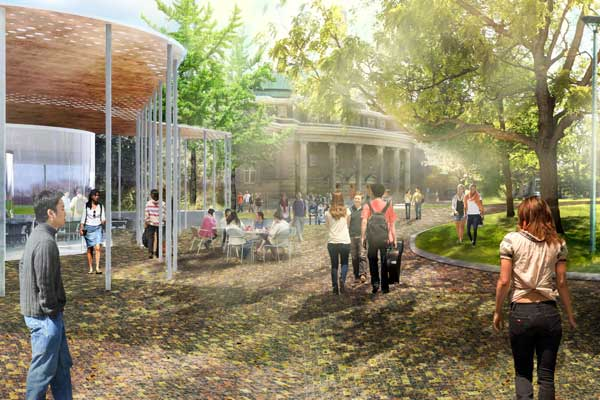 Rendering of south side of campus (Image Credits: KPMB and MVVA)
