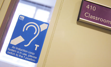 Photo of international symbol for hearing loss identifying induction loop system