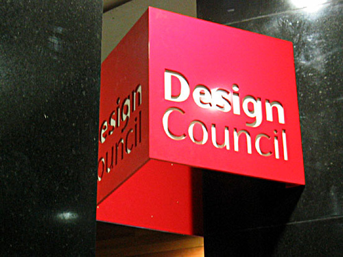 View of an exterior sign for the Design Council