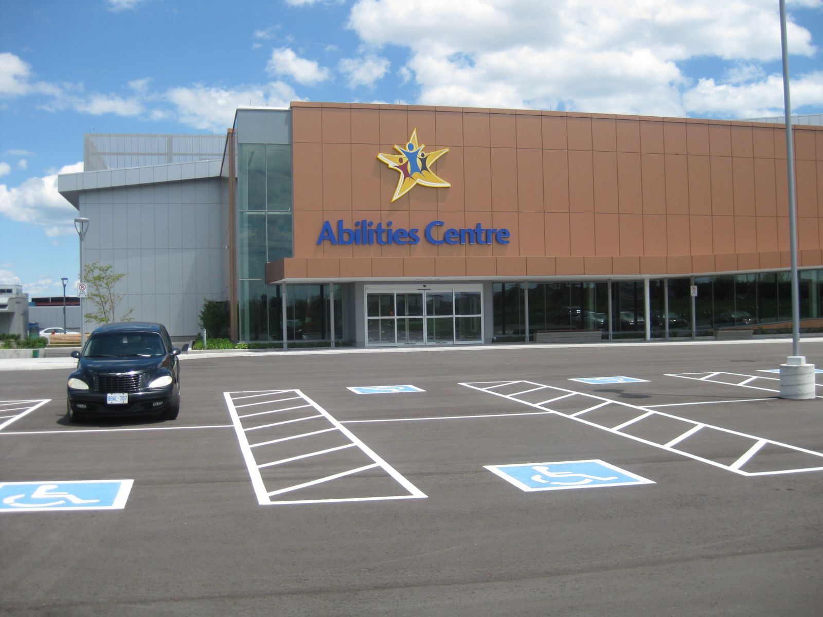 Photo of exterior of Abilities Centre, Whitby Ontario.