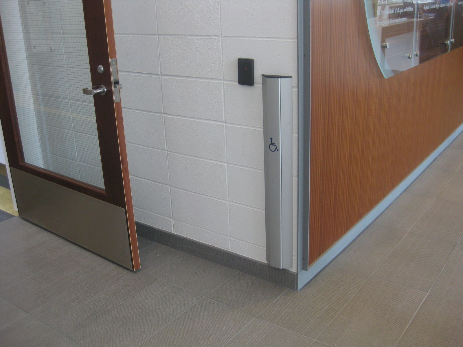 View of an extended power door operator control