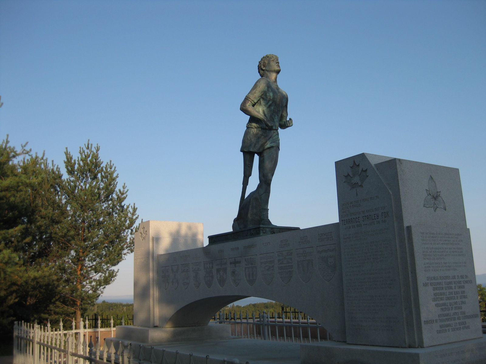 A photograph of the Terry Fox Memorial in Thunder Bay Ontario