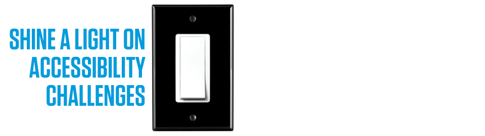 Graphic of colour contrasted light switch with text
