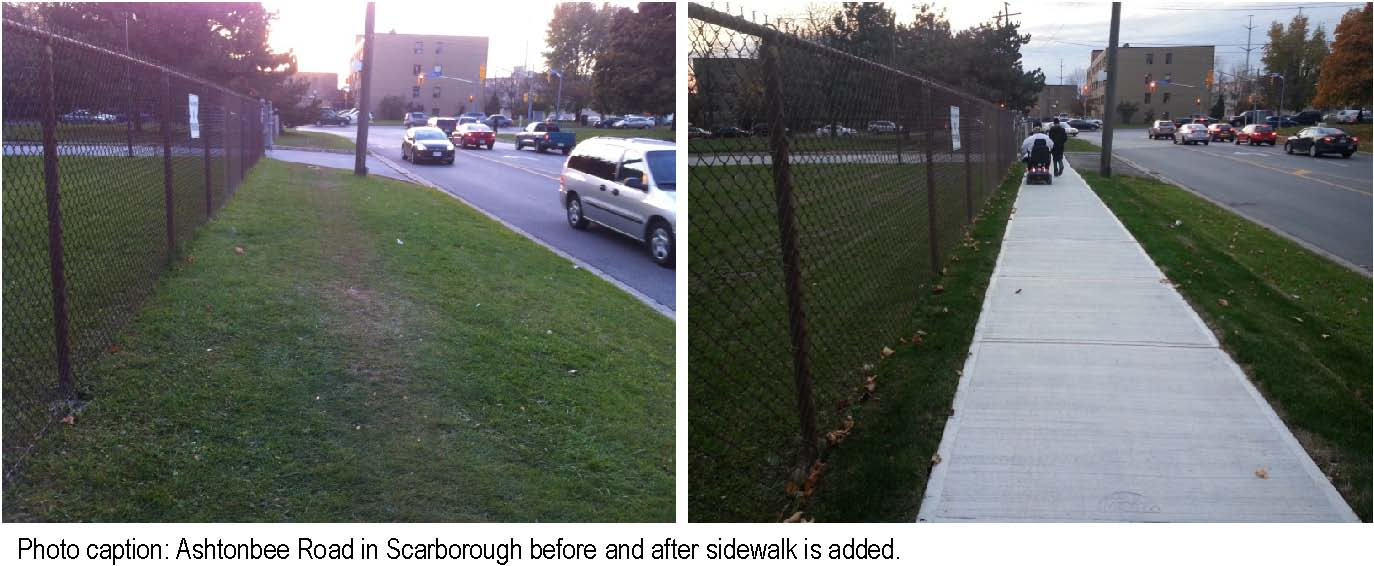 Picture of Ashtonbee Road in Scarborough before and after a sidewalk is added (Credit: City of Toronto)