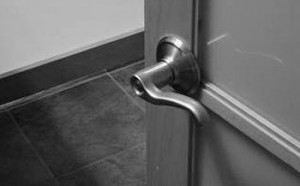 Example of lever door hardware used for as visitability feature