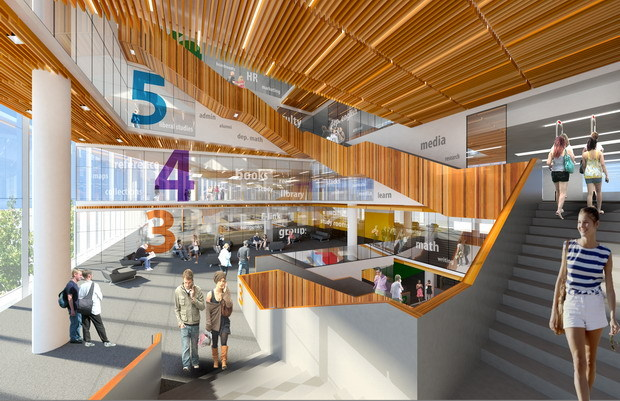 Interior rendering of Humber College, Learning Resource Commons (Source: B+H).