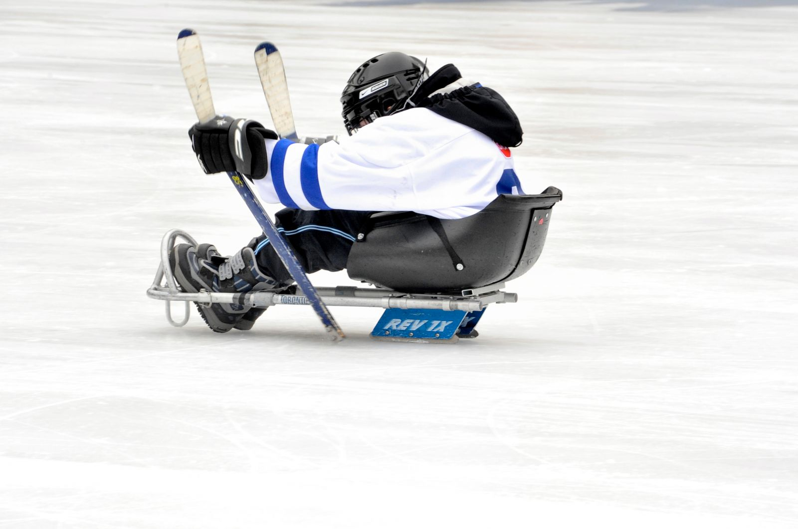 Photo of sledge hockey at Nathan Phillips Square (Source: City of Toronto Flickr)
