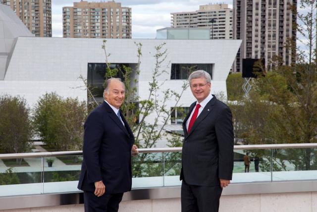 The Aga Khan and Prime Minister Harper pose in front of the Aga Khan Museum, image by Jack Landau